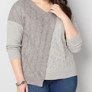 Avenue TWO TONE CABLE FRONT SWEATER